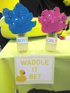 Waddle It Be...Boy or Girl?! Each guest took a duck of what they thought it would be & held it up in our group picture.