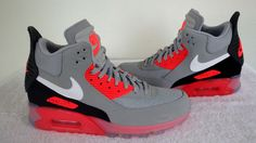 Nike Air Max 90 Sneakerboot Ice Wolf Grey/Anthracite/Infrared 684722 006 Sz 9…