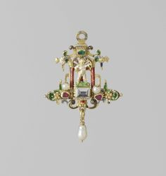 Pendant in the form of Amor in a niche, Partially enamelled gold, pearls a and precious stones. ca. 1560 - ca. 1580