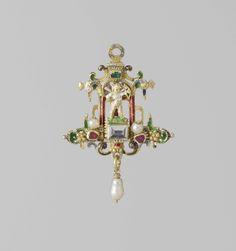 Anonymous   Pendant in the form of Cupid in a niche, Anonymous, c. 1560 - c. 1580   Hanger van goud, email en edelstenen. Voorstellende een Amorfiguurtje, staande in een nis, omgeven door een renaissance-omlijsting.