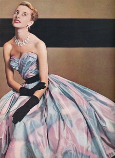 L`Officiel 1953    Gown for summer parties by Balmain