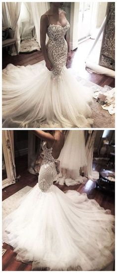 Wedding Dresses,Wedding Gown,Princess Wedding Dresses Mermaid Wedding Dress with Spaghetti Straps