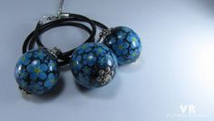 """Painted wooden pendant and earrings  """"Forget-me-not"""". Jewelry with hand painted. Painted flowers on earrings. Black set jewelry. Wooden bead"""
