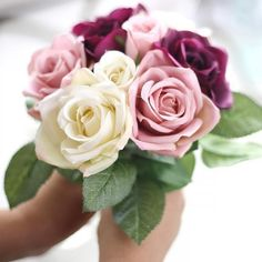 Flower 2017 My House 9 Heads Artificial Silk Fake Flowers Leaf Rose Wedding Floral Decor Bouquet flowers home decoration Artificial Flower Arrangements, Artificial Silk Flowers, Fake Flowers, Small Flowers, Dried Flowers, Lilies Flowers, Flowers Garden, Floral Flowers, Fabric Flowers