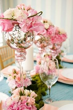 mercury glass, pink, gold + blue hues
