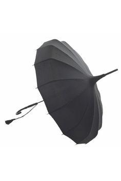 Umbrella, pagoda shaped, black. From Lisbeth Dahl.