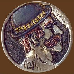 """CANOVAS, JESUS """"QUESADADA' HOBO NICKEL - TRADITIONAL STYLE INLAID WITH GOLD AND COPPER - 1937 BUFFALO PROFILE Hobo Nickel, Buffalo, Copper, Carving, Profile, Traditional, Gold, Style, User Profile"""