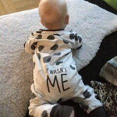This funny ( It wasn't me! )  baby onesie is guaranteed to make you laugh!  Soft and comfortable, perfect for just romping around the house or as a sleeper! Visit us at destination-baby.com to see our entire collection of cute, fun and affordable baby and children's clothing! We even have a few things that mom will love plus always FREE shipping!