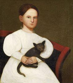 Early American Artist Zedekiah Belknap 1781-1858. Portrait of girl in white dress holding a black kitten.