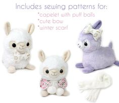 alpaca sewing pattern | PDF sewing pattern - Alpaca Llama stuffed animal - kawaii plush anime ...
