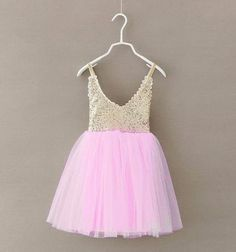 The Jessie Dress, Children's party dress, pink and gold, girls dress