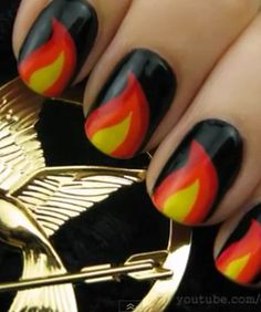 Watch -- nail art inspired by The Hunger Games