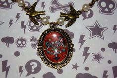 Handmade Antique Bronze Necklace With Sailor Jerry Cameo £4.99