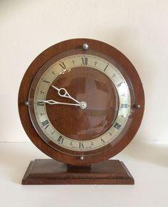 Antique Art Deco Wood Chrome Mantel Clock,Working 8 Days Movement,Vintage 1930s