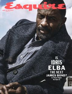 Idris Elba stars on the August cover of Esquire, photographed in London wearing a Burberry herringbone wool tweed topcoat  Photographed by Victor Demarchelier Styled by Matthew Marden