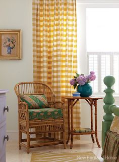 I'm on the hunt for some bamboo furniture. House of Turquoise: Carol Bancker Vietor Interior Decoration Turquoise Curtains, Gingham Curtains, Yellow Curtains, Gold Curtains, Farmhouse Bedroom Furniture, Bamboo Furniture, Bamboo Chairs, House Of Turquoise, Turquoise Table