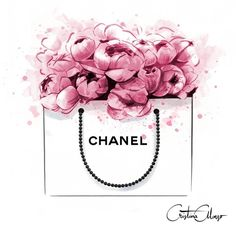 Image of Peonies + Chanel Print Chanel Print, Chanel Poster, Chanel Chanel, Chanel Nails, Chanel Logo, Mode Poster, Illustration Mode, Fashion Illustration Chanel, Fashion Illustrations