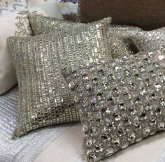 Why Hon File Cabinets Are The Only Option For Your Property Or Office Swarovski Pillows Now Back In Stock For Inquires Please Email Sala Glam, Bling Bedroom, Silver Bedroom Decor, Whimsical Bedroom, Mirrored Bedroom Furniture, Cream Pillows, Sofa Pillows, Mermaid Bedroom, Nautical Bathroom Decor