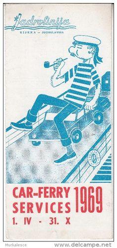 Car ferry services 1969, Jugoslavia vintage advertising.