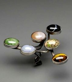 Ring by Art Smith, c. 1958. Silver, semi-precious stones.