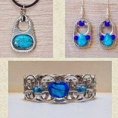 latas by wanting Jewelry For Her, Wire Jewelry, Jewelry Crafts, Beaded Jewelry, Jewelry Making, Jewellery, Soda Tab Crafts, Can Tab Crafts, Bottle Cap Jewelry