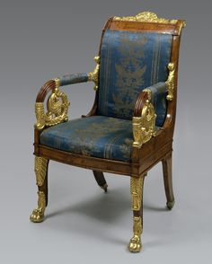 Title: Armchair Place of creation: Russia Date: Second quarter of the 19th century Material: wood (poplar) and lyons silk Technique: carved and gilded Dimensions: 102x59x49 cm