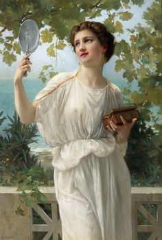 Original oil painting by Guillaume Seignac, entitled Admiring Beauty, French academic painter. Signed and for sale at M. European Paintings, Classic Paintings, Beautiful Paintings, Renaissance Kunst, Renaissance Paintings, Art Occidental, Beauty In Art, Beauty Makeup, Academic Art