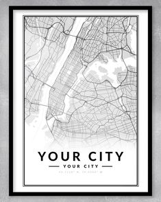 This contemporary and minimalistic custom map print is perfect for the home or office, or even as a gift! We can create custom maps of any place in the world. Just send us a message!  DIGITAL DOWNLOAD ONLY (NO PRINT OR FRAME INCLUDED) - WE WILL MESSAGE YOU WITH YOUR DOWNLOADABLE FILE WHEN IT IS READY. Map Of New York, Custom Map, Custom Posters, Paper Sizes Chart, Personalized Engagement Gifts, New York Poster, One Year Anniversary Gifts, City Map Poster