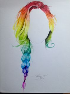Rainbow braid hair drawing
