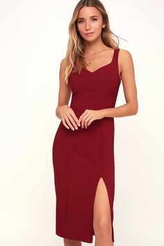 Dance your way through the evening in the Lulus Take Me Out Tonight  Burgundy Midi Dress 5b7a64e9c