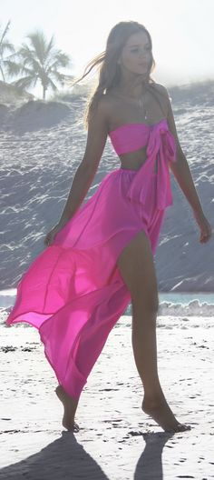 Sisters The Label - Two Piece Gown crop maxi set in pure silk. Vegas Voltage - hot bright fuscia pink. Neon midriff thigh split skirt. Beach party, 18th 21st birthday or wedding outfit. Worn by Australian fashion blogger, model and stylist Lydianna