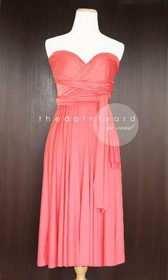Short Straight Hem Coral Infinity Dress Multiway by thedaintyard