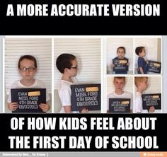 """This is cute for a first day of school ever. And for their last graduation like a """"release"""" picture"""