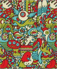 Monster,Pattern,monster pattern contemporary Cross Stitch