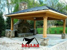 Frisco, TX In Texas Patio Cover Made From Cedar With A Built In Fireplace