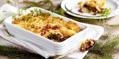Bruk pinnekjøtt-restene i en herlig pai Mashed Potatoes, Cauliflower, Vegetables, Ethnic Recipes, Pizza, Food, Pai, Clean Eating Meals, Ribe