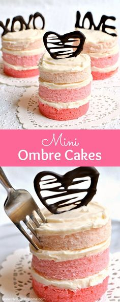 How to make Mini Ombre Cakes! This mini layer cake recipe is fun, easy, and affordable to bake, and perfect for Valentine's Day! Customize the chocolate word cake toppers with any message you'd like! | Hello Little Home