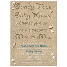 Same Sex Lesbian Wedding Invitation - Beach Sandy Toes Salty Kisses