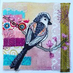 Handmade textile art by Carinne Meyerink Bird Art, Fabric Art, Vintage Lace, Textile Art, Hand Embroidery, Whimsical, Moose Art, Original Art, Art Pieces
