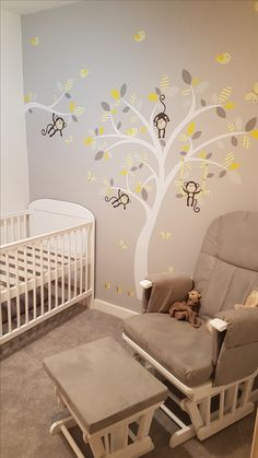 Premium Self Adhesive Fabric Nursery Wall Decals Featuring one of our monkey trees and branch in yellow and grey wall stickers, with a white tree mural