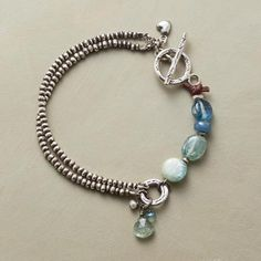 TIDEPOOL BRACELET -- As the surf retreats, small treasures abound—kyanite, apatite and aquamarine, surrounded by Thai silver beads and clasped with a Thai silver toggle. Unique Bracelets, Handmade Bracelets, Jewelry Bracelets, Handmade Jewelry, Unique Jewelry, Personalized Bracelets, Necklaces, Bangles, Pandora Bracelets