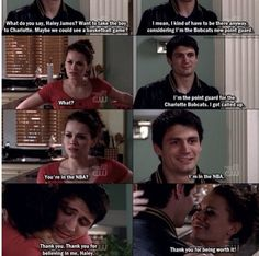 One of my favorite scenes of the entire series. I absolutely love how happy and proud Haley is and how hard Nathan worked to get there.