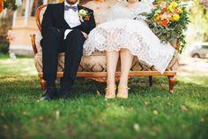 Vintage sofa , vintage wedding dress , yellow wedding shoes and autumn inspired yellow Wedding bouquet