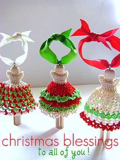 Crochet peg dolls