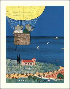 Hot Air Balloon Nursery Decor, Ocean Nursery Art Print -- Vintage Babar et Celeste Elephant Illustration (Matted 11x14 Kids Room Wall Art )