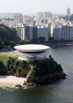 By Oscar Niemeyer. The Niteroi Museum of Contemporary Art, in Niterói, near Rio de Janeiro, built in 1991.