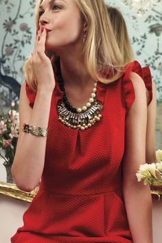 Perpetua Bib Necklace & Red Dress