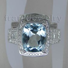 Jewelry Sets Cushion 10x12mm Solid 14Kt White Gold Diamond Blue Topaz Ring SR71