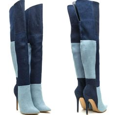 Colorblock High Heel Thigh High Boots