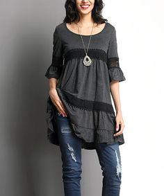 Love this Charcoal Crochet Bell-Sleeve Tunic Dress on #zulily! #zulilyfinds